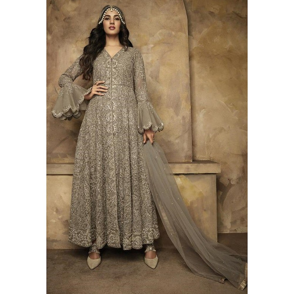 Brown net heavy embroidered wedding gown with dupatta