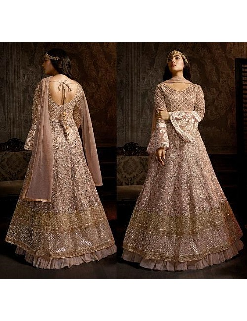 Dusty rose net heavy embroidered designer wedding gown with dupatta
