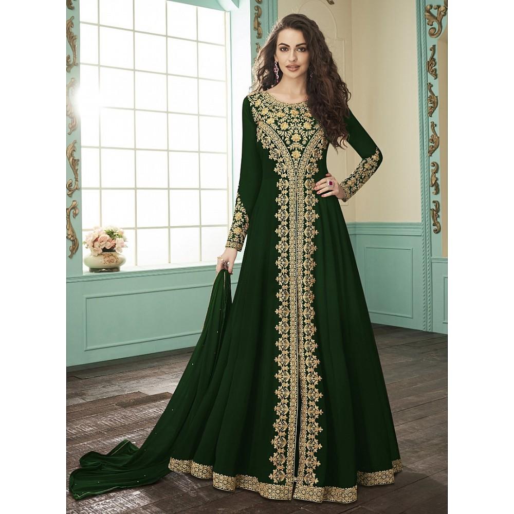 Green heavy faux georgette embroidery stylist wedding gown