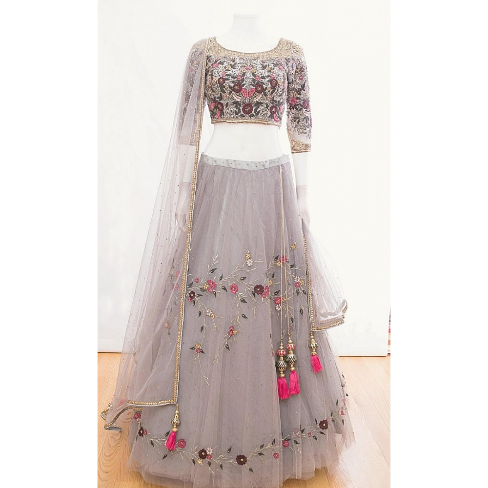 Grey net multi embroidered designer ceremonial lehenga choli