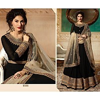 Black georgette coding and stone worked long wedding anarkali suit