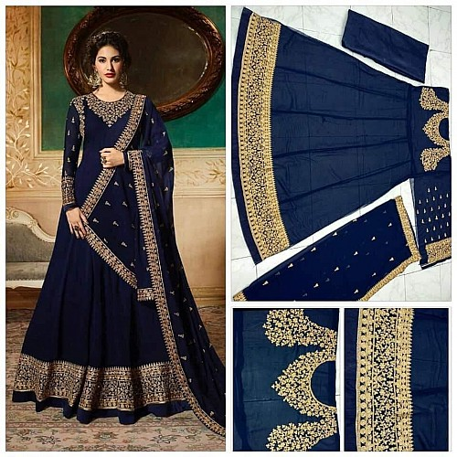 Dark blue georgette emboridered long anarkali suit