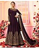 Dark purple heavy emboridered long wedding gown with dupatta
