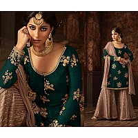 Green heavy embroidered and stone work sharara salwar suit