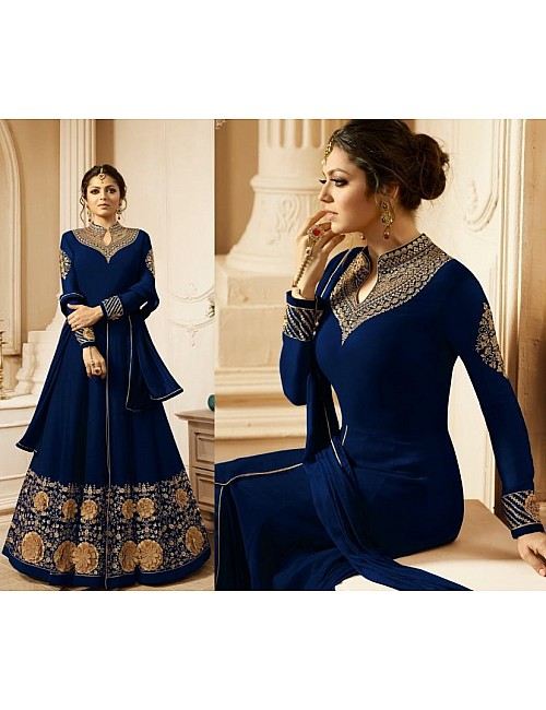 Blue faux georgette beautiful embroidered long anarkali suit