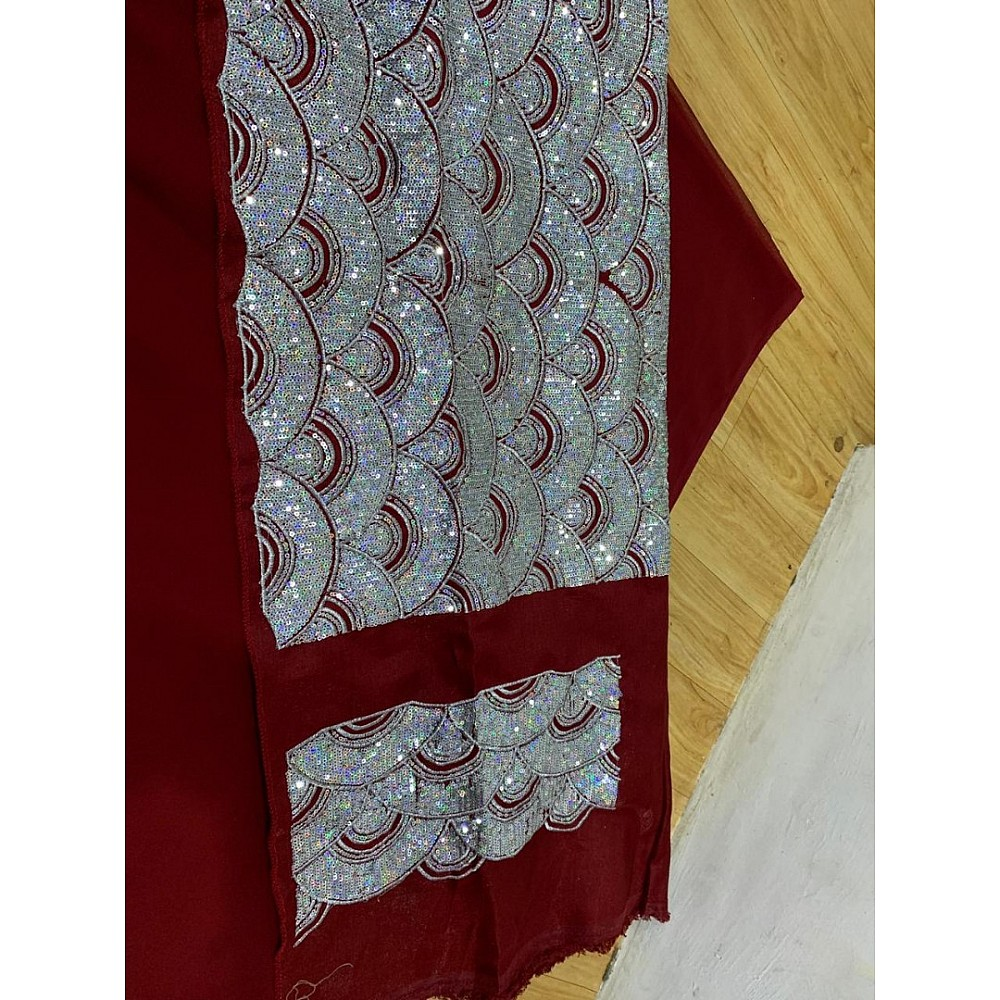 maroon georgette designer ruffle saree with sequence work blouse
