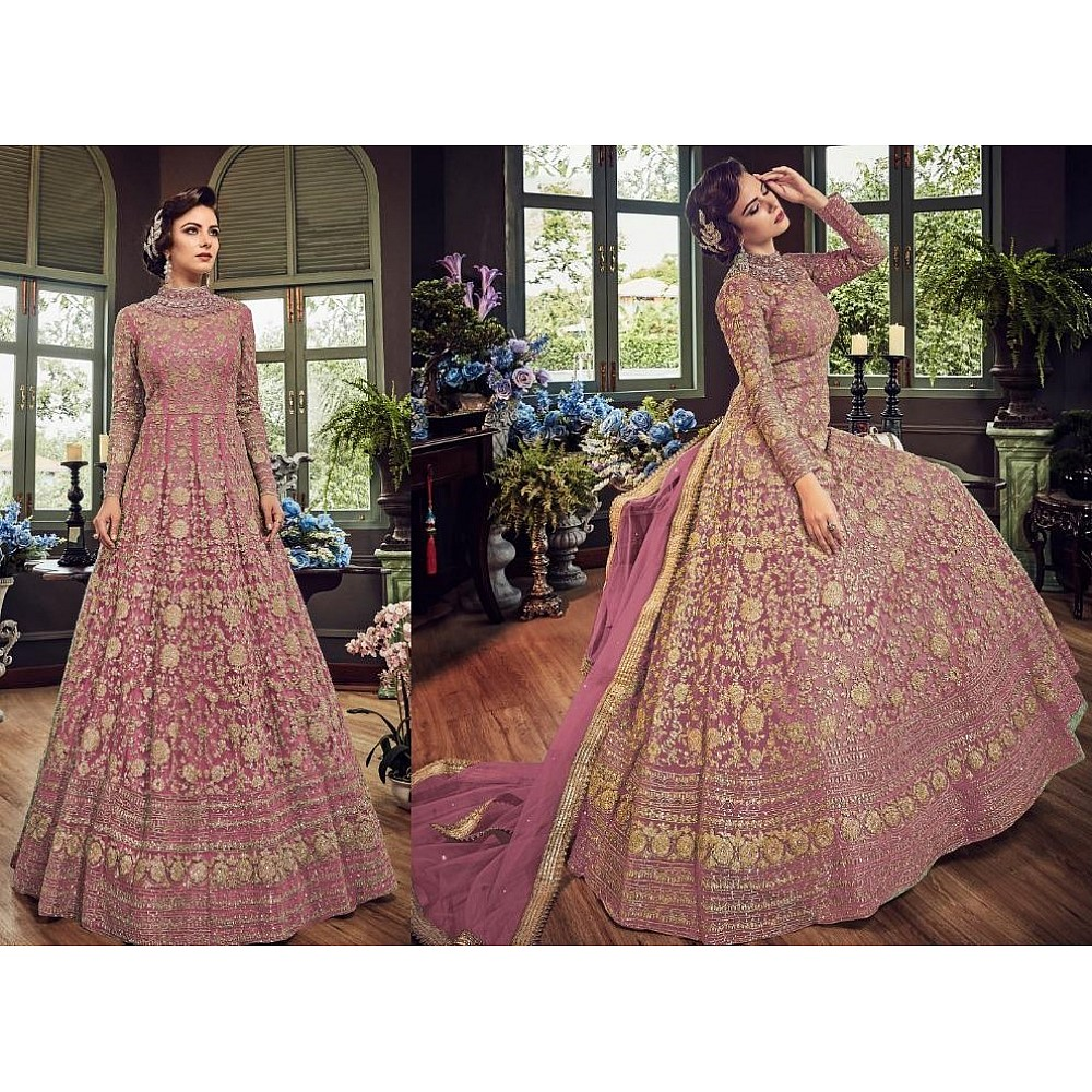 Peach net heavy embroidered wedding gown