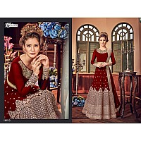 Red georgette heavy embroidered with stone ceremonial gown