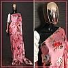 Baby pink heavy japan satin floral printed saree