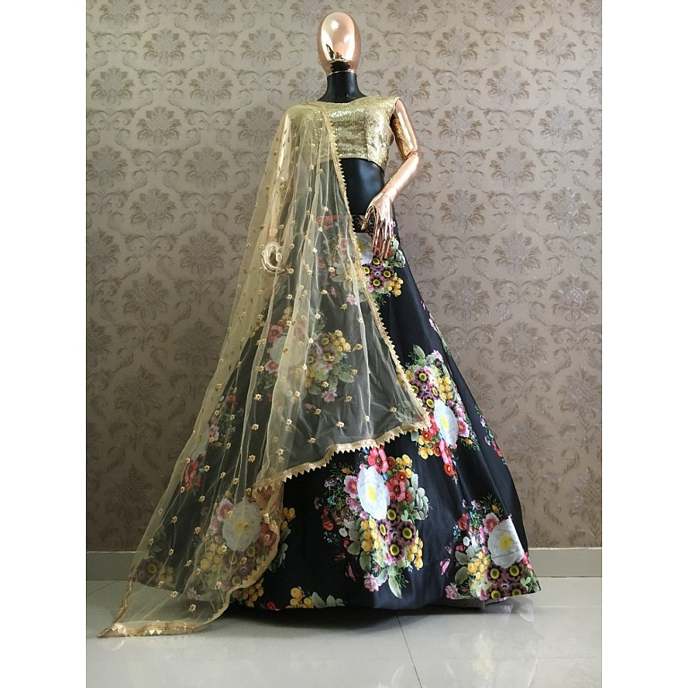 Black heavy satin floral printed beautiful lehenga choli for ceremony