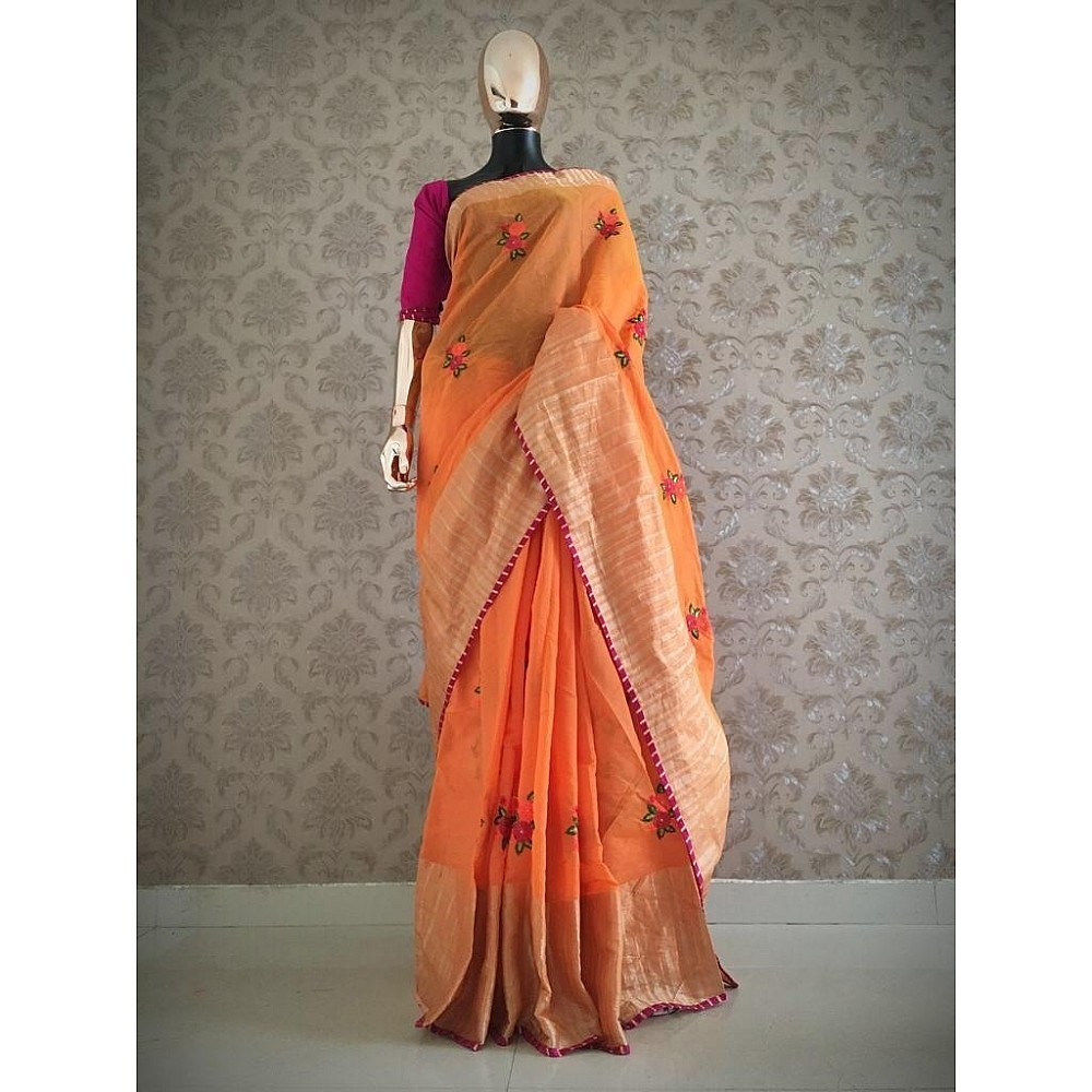 Cotton silk embroidered saree