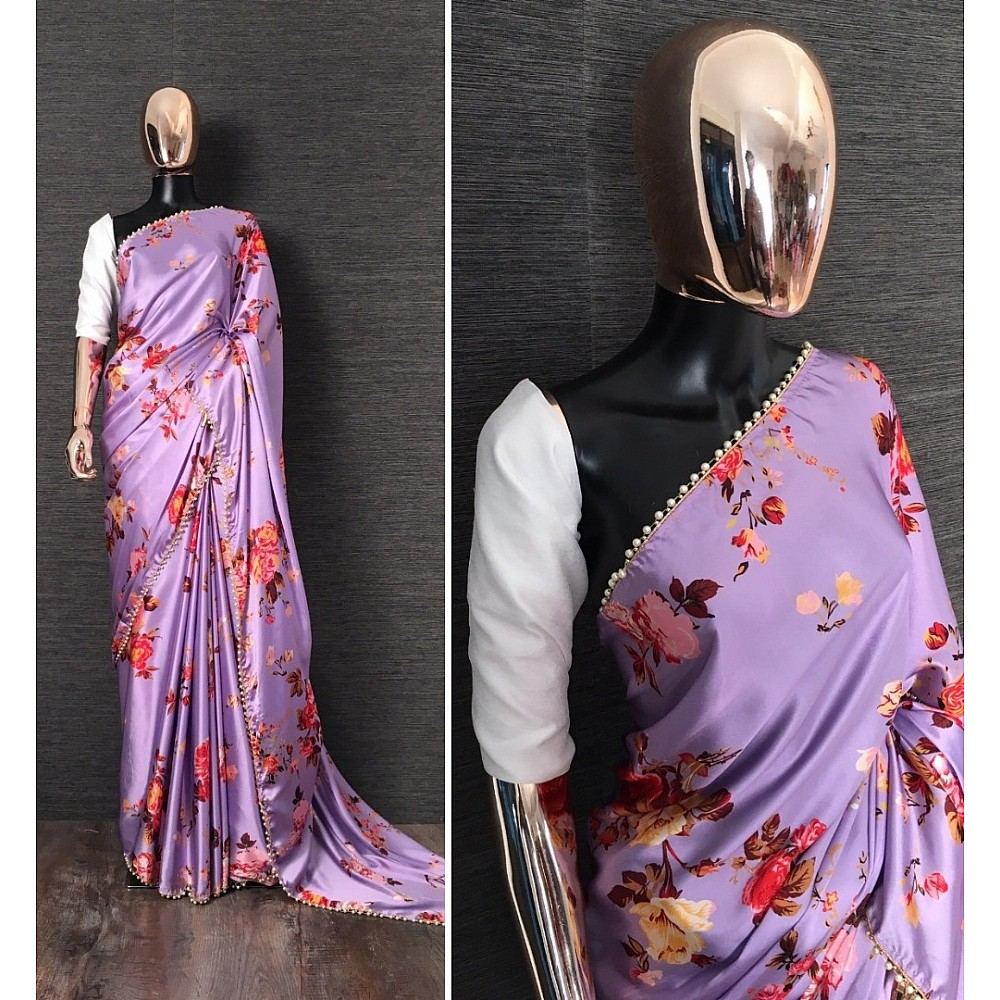 Purple floral printed pearl lace border saree