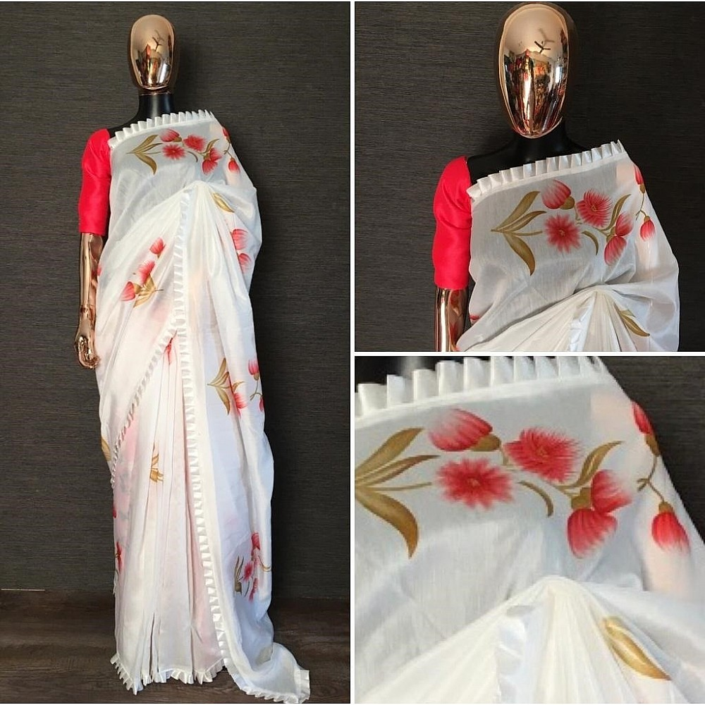 White chanderi cotton frill border red flower printed saree