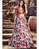 White heavy satin digital printed lehenga choli