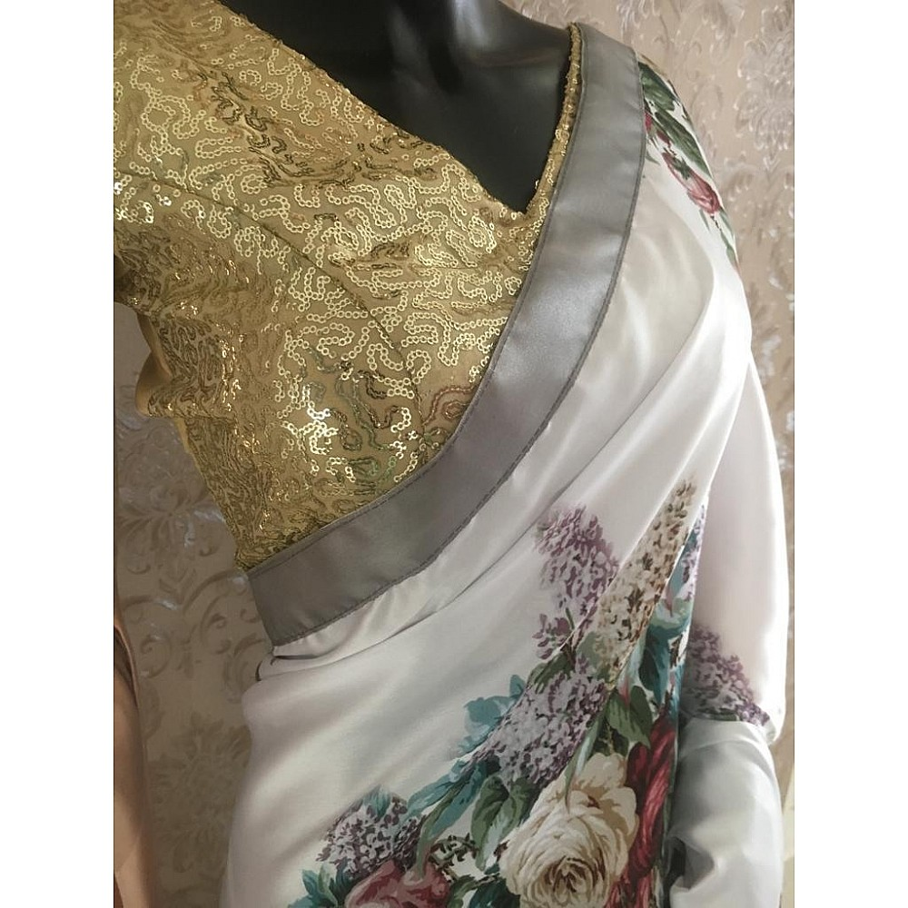 White japan satin flower printed saree with sequence work blouse