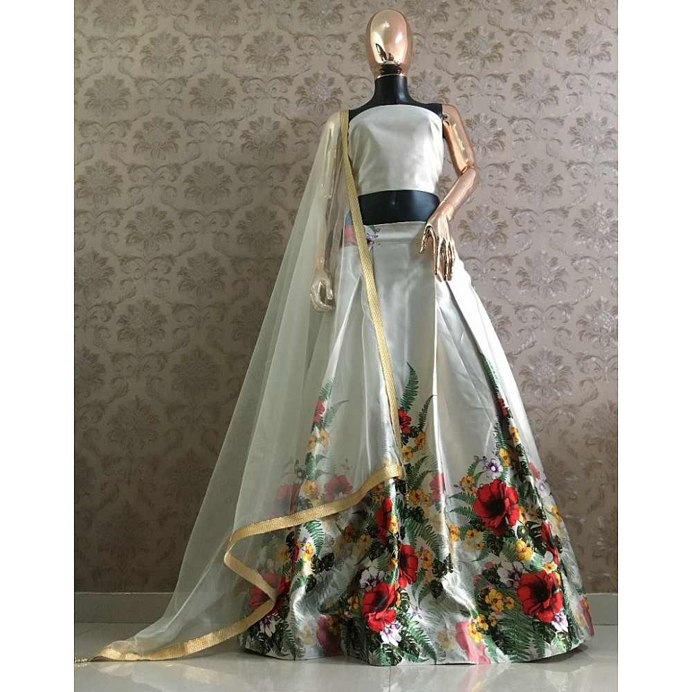 White zari satin floral printed crop top indowestern lehenga