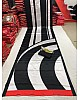 Black and white ultra satin printed saree