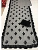 Black net heavy embroidered saree
