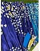 Blue and rama half half printed ultra satin fancy saree