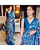 Blue chinon silk printed moti border saree