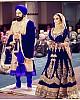 Blue velvet heavy embroidered bridal lehenga choli