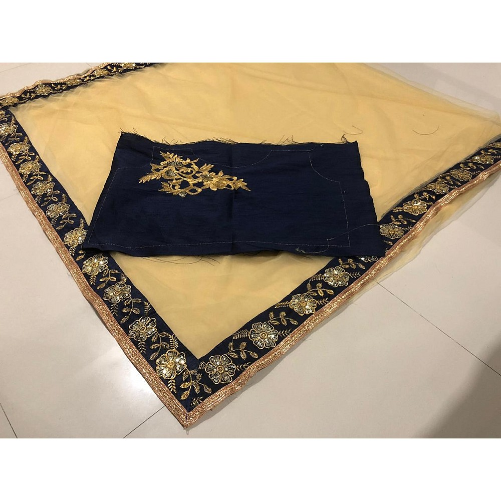 Brown net embroidered partywear saree