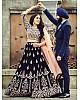 Dark blue Heavy velvet embroidered wedding lehenga choli