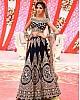 Dark blue velvet heavy designer embroidered bridal lehenga choli