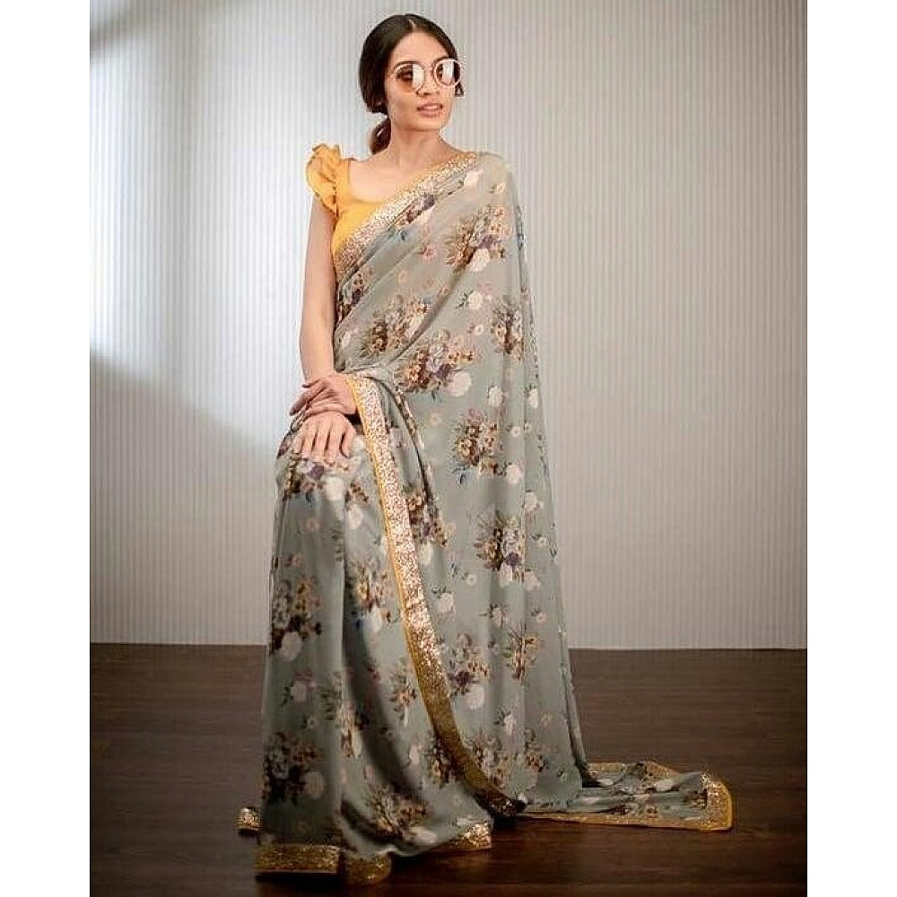 Grey georgette floral printed sequence work border saree
