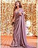Light purple georgette sequence and thread work designer saree