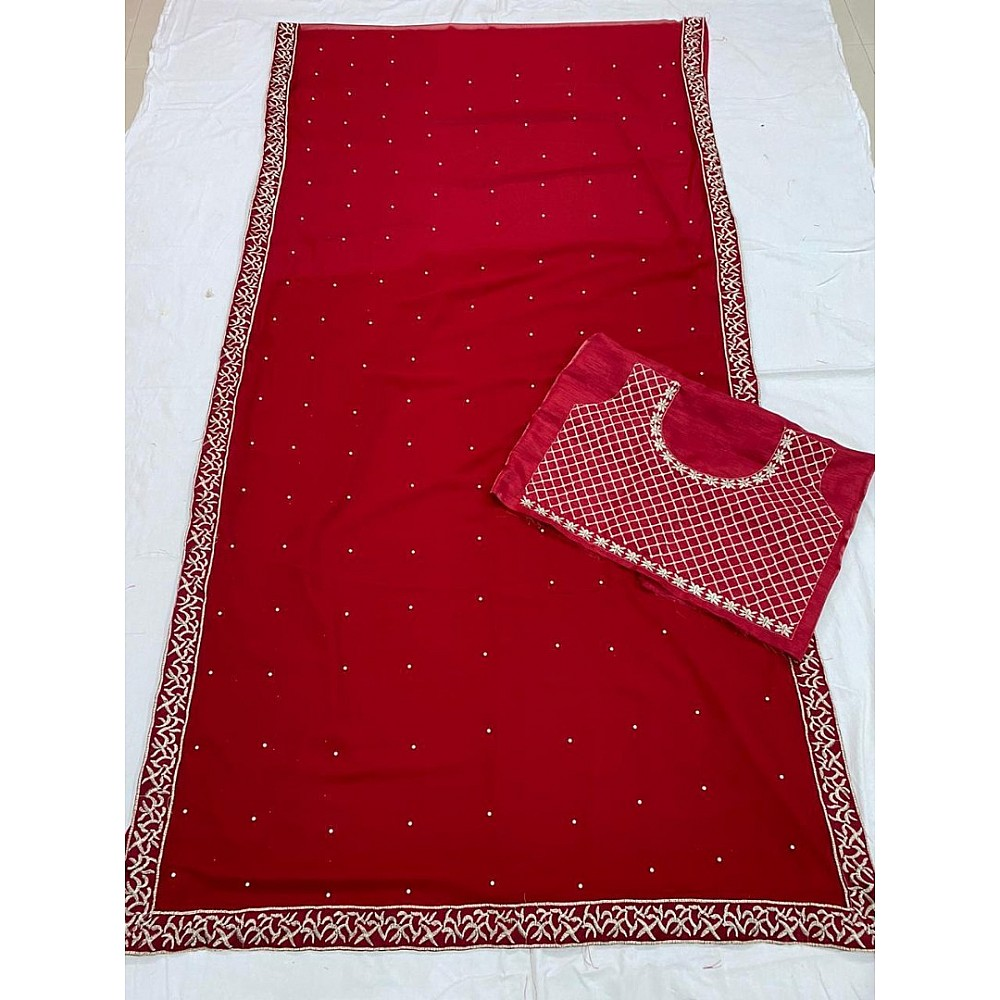 maroon georgette moti and embroidery work wedding saree