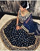 Navy blue velvet heavy embroidered wedding lehenga choli