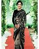Off white net black thread embroidered designer saree