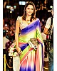 Rainbow multicolor printed ultra satin fancy saree