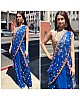 Royal blue georgette designer embroidered saree for wedding function