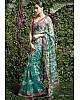 Sea green net heavy embroidered wedding saree