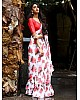 White georgette floral digital printed saree