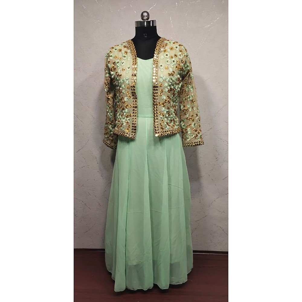Pista green georgette gown with embroidered jacket
