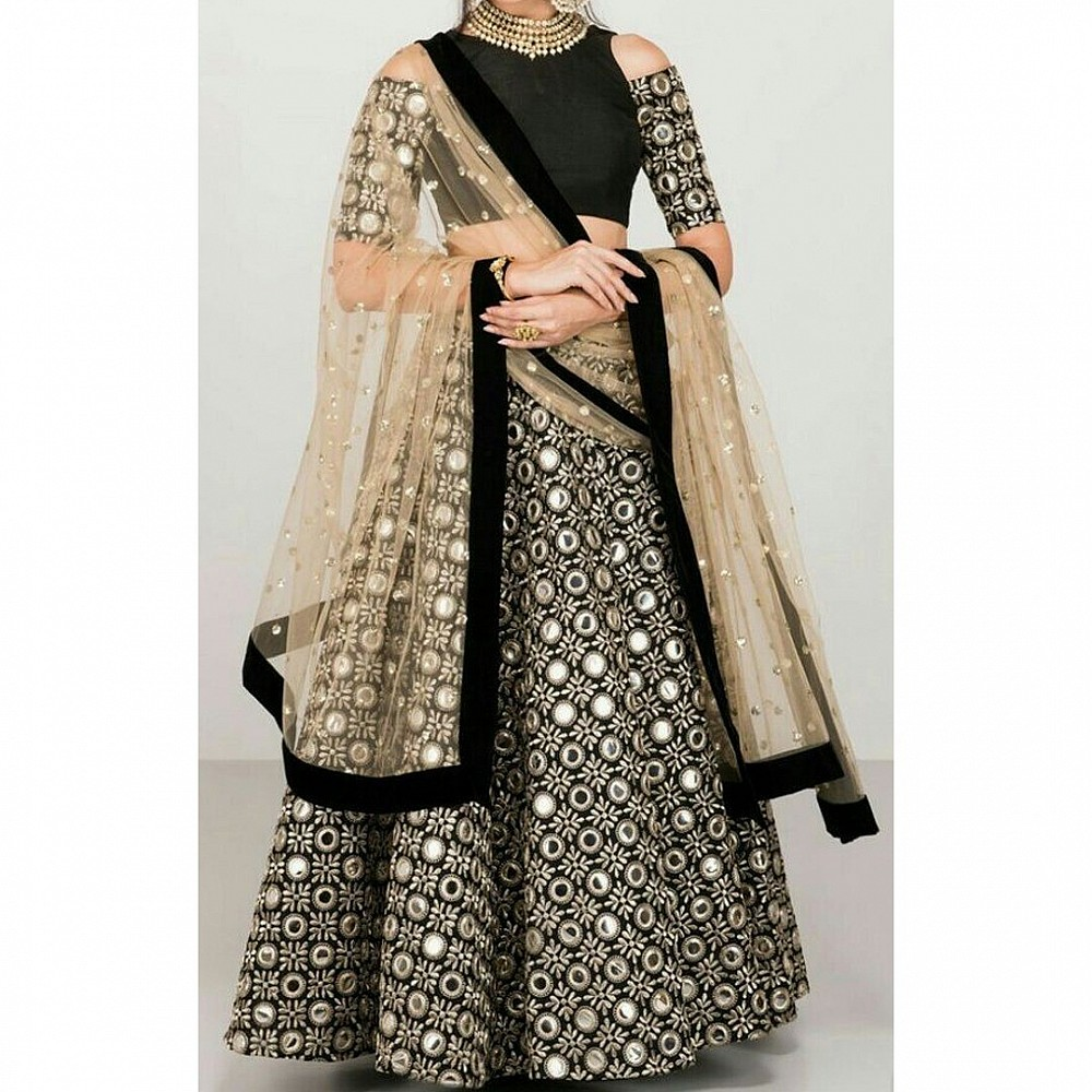 Black banglori paper mirror threadwork wedding lehenga choli