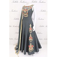 Dark grey fusing covered banglori silk embroidered stylist gown