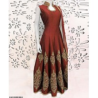 Maroon banglori silk embroidered semistitched gown