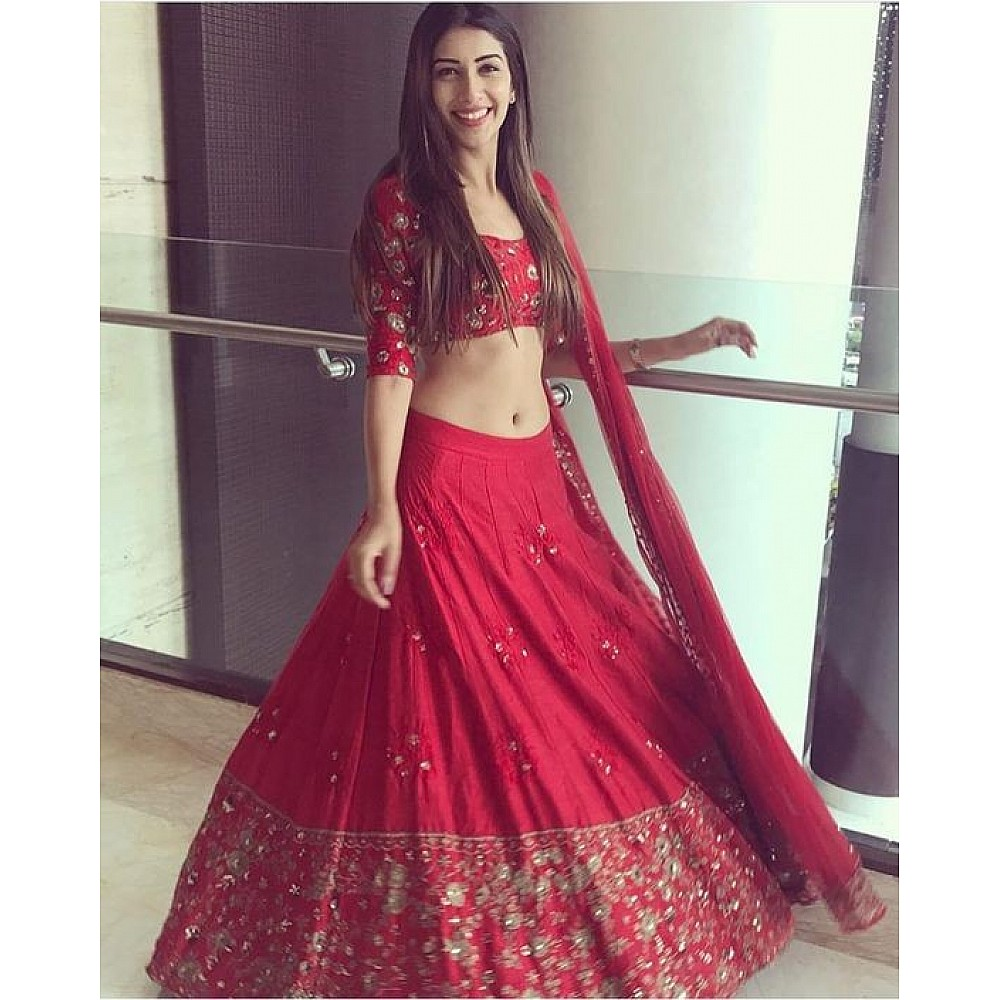Red star silk beautiful embroidered wedding lehenga choli