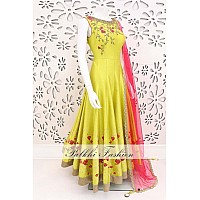 Yellow fusing covered banglori silk embroidered gown