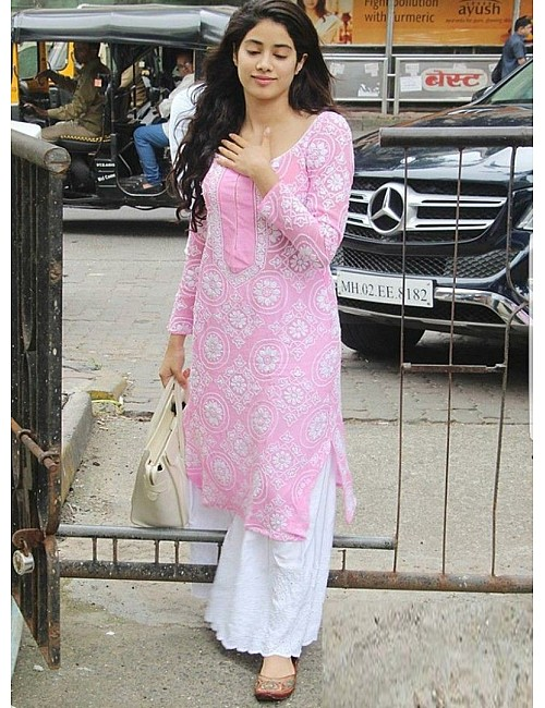 Baby pink embroidery worked plazzo suit