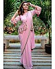 Baby pink georgette pearl work saree with long choli