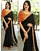 Black georgette fabulous partywear saree with work blouse