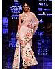 Peach chinon silk digital printed designer saree