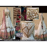 beautiful anarkali style white lehenga