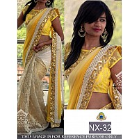 beautiful georgette yellow saree