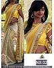 beautiful georgette yellow saree